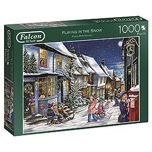 Jumbo Falcon de Luxe Playing in The Snow 1000 pcs Puzzle - Rompecabezas (Puzzle Rompecabezas, Invierno, Adultos, Niño/niña, 12 año(s), Interior)