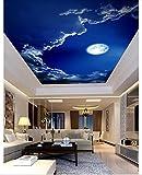 mznm 3D Deckenleuchte Tapeten Malerei Stil Romantic Night Sky Moon Deckenlampe Wandbild Hintergrundbilder für Wohnzimmer Wanddekoration 200x140cm