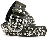 styleBREAKER cintura borchiata con stelle e borchie rotonde in stile vintage, accorciabile 03010030, dimensione:95cm, colore:Oliva