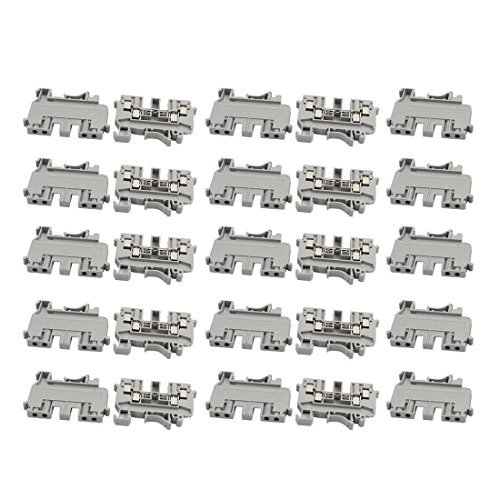 DealMux 25Pcs UDK4 DIN Rail Mount Double Inlet and Outlet Terminal Block 690V 32A Gray (Terminal Gray)