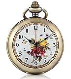 Unendlich U fiori Orologio di pattern foto medaglione a carica manuale meccanico orologio da tasca quadrante bianco scheletro orologio Maglione Collana, entrambe le catene