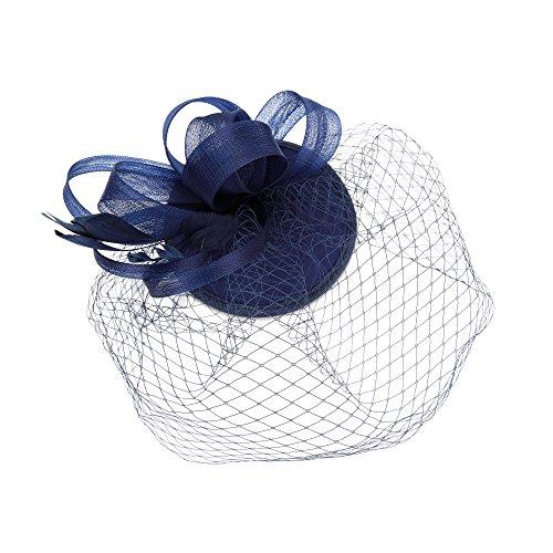 Mode Haar Net (Feather Fascinator Schleier Net Schleife Blume Hut Clip Haarschmuck Hochzeit Prom)