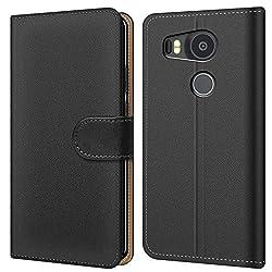 Conie BW2767 Basic Wallet Kompatibel mit Google Nexus 5X, Booklet PU Leder Hülle Tasche mit Kartenfächer und Aufstellfunktion für Nexus 5X Case Schwarz