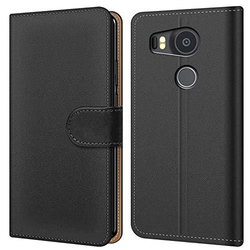 Conie BW2767 Basic Wallet Kompatibel mit Google Nexus 5X, Booklet PU Leder Hülle Tasche mit Kartenfächer und Aufstellfunktion für Nexus 5X Case Schwarz (Wallet 5 Nexus)
