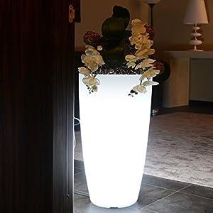 Stilo Vase, rund, mit Innenlicht, aus farbigem Polyethylen, Elegante, moderne Vase, Wohnaccessoire, das zu vielen Umgebungen passt