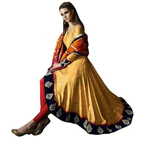 Aryan Fashions Yello COLOR LATEST INDIAN DESIGNER ANARKALI SALWAR KAMEEZ DRESS for...