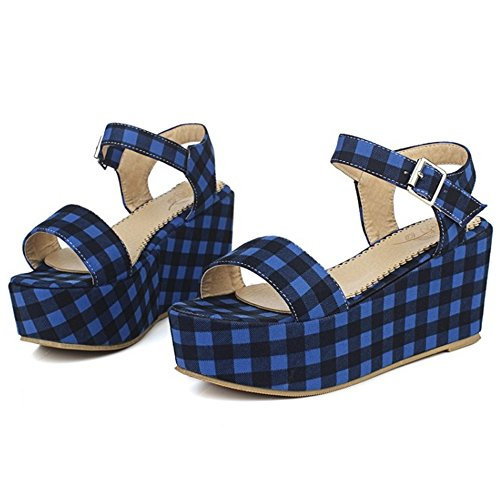 TAOFFEN Damen Comfortable Wedges High Heel Buckle Singback Multicolor Sandalen Blau OOMI37NTSL