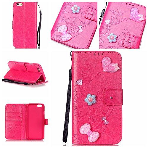 iPhone 7 Hülle,iPhone 7 Case,Cozy Hut ® Ultra Slim Flip Lederhülle / Ledertasche / Hülle / Case / Cover / Etui / Tasche für iPhone 7 / 3D Diamant Strass Bling Glitzer Schmetterlings-Blumen Muster, Pu  Rose Red
