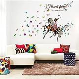 Missley Reitpferd Blume Fee Wandtattoos Kinder Zimmer Wandaufkleber für TV Sofa Wanddekoration