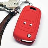 Soft Case Schutz Hülle Auto Schlüssel Opel Astra J Corsa D Adam Meriva Insignia ab 2008 Klappschlüssel Chevrolet Cruze Trax Matiz Aveo Spark / Farbe Rot