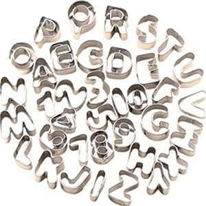 37 moules à biscuit lettre / alphabet chiffre en acier inoxydable