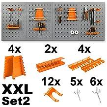 Werkzeugwand / Werkstattwand inklusive Haken – wahlweise mit 11 oder 22 tlg. Halterungsset – in XL oder XXL Ausführung Lochwand Werkzeughalter (XXL Werkzeugwand + 2x Halterungsset)