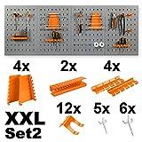 Werkzeugwand / Werkstattwand inklusive Haken - wahlweise mit 11 oder 22 tlg. Halterungsset - in XL oder XXL Ausführung Lochwand Werkzeughalter (XXL Werkzeugwand + 2x Halterungsset)