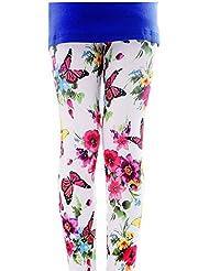 Magnifique papillon filles Legging imprimé pour femme Blanc, 7–8x
