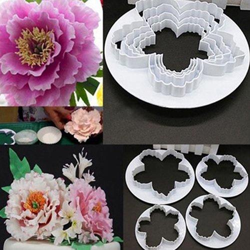 CFPACR 4Pcs Peony Flower Petal Fondant SchimmelPilz Zucker Craft Cake Kekse Embosser Cutter