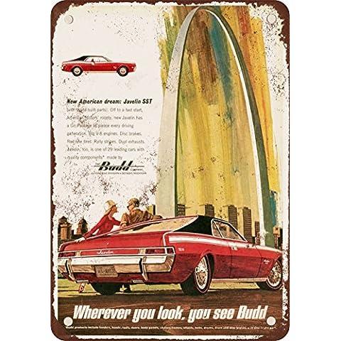 1968AMC Javelin SST e Budd Look Vintage Riproduzione in metallo Tin Sign 17,8x 25,4cm - Sst Javelin