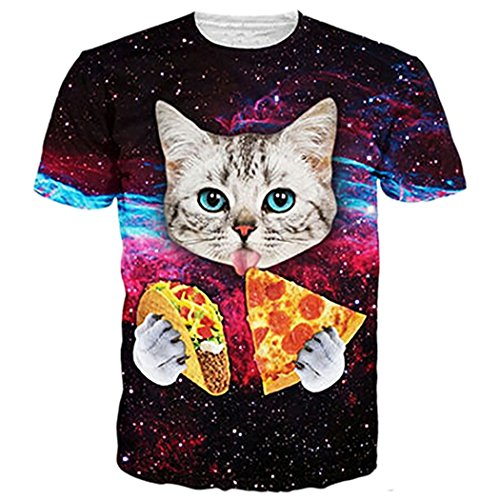 Leapparel Unisex Galaxie Universum Pizza Katze Print Hip Hop Humor Spaß T-Shirts Tops XXL (Humor T-shirt-t-shirt)