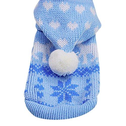 KanLin Haustier Hund Hoodie Strick Pullover Welpen Mantel Kleider Kleine Warm Kostüm (S, Blau) (Prinzessin Carrier Dog)