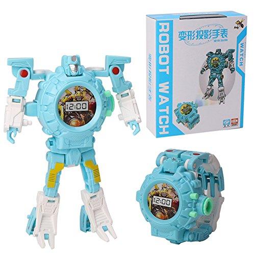 Faironly Kinder Trasformation Armbanduhr Spielzeug Cartoon Projektion Uhren Kinder Roboter Transformation Spielzeug blau
