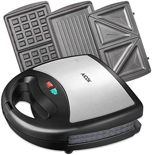 Tostiera AICOK 800W 3 in1 Waffles Piastra Acciaio Inossidabile Ultracompact Sandwich/Panini Maker 3 Piastre Removibili con Rivestimento Antiaderente