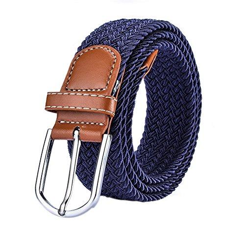 WDOIT Fashion Casual Trenzado Lienzo Pin Hebilla de cinturón elástico cinturón de jóvenes Unisex 105* 3.5cm, Lona, Azul, 105 * 3.5CM