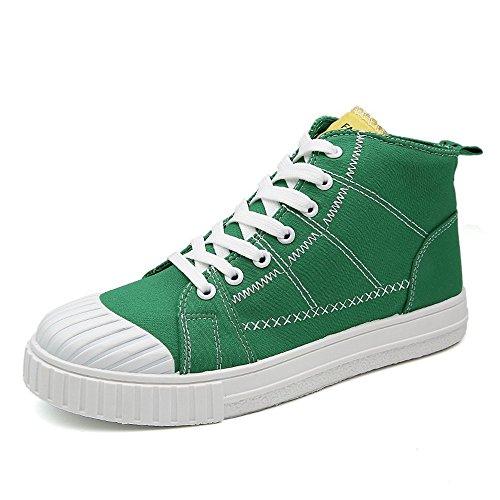 HILOTU Mode Junge Flache Sportschuhe Lässige Lace Up Loafers High Top Monochrome Canvas Sneakers (Color : Grün, Größe : 40 EU)