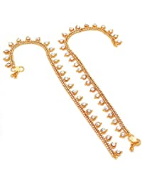 Jewar Mandi Anklet Payal Indian Traditional Cz Ad Handmade Natural Gold Plated Jewelry 6511 for Womens Girls