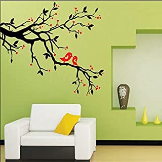 ASENART Black Tree Branches Lovely Birds Removable PVC Wall Stickers Bedroom Sofa Background Decor Size 20