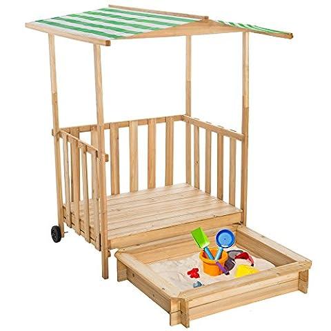 TecTake Sandkasten mit Dach Spielhaus aus Holz Spielveranda | Grün