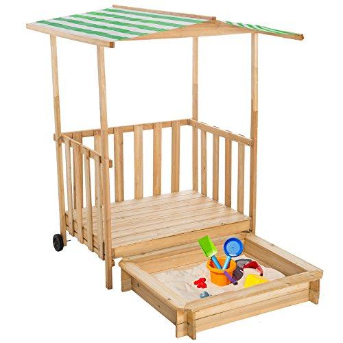 TecTake Recinto di sabbia con tetto Veranda da gioco in legno per bambini con casetta e protezione solare tetto di copertura - disponibile in diversi colori - (Verde | No. 400914)