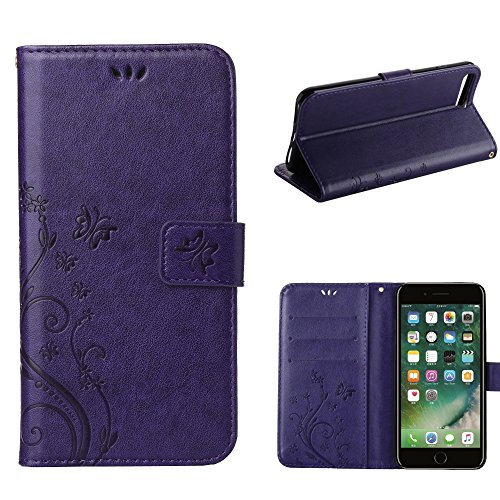 UKDANDANWEI Apple iPhone 7 Plus Hülle ,Muster Flip Wallet Case,Lanyard Strap Leather Stand Handyhülle Portable Lederhülle Anti-Scratch [ID Card Slot] Magnetverschluss Soft Silikon Cover TascheFolio Ha Violett