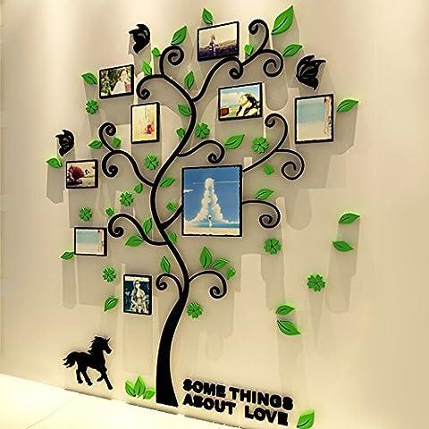 3D acrílico Arte de la pared con diseño de árbol de cristal marco de fotos para decorar