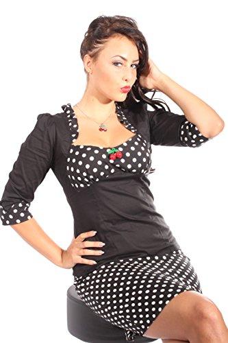 SugarShock Damen POLKA DOTS Ruffle Kirschen Rockabilly pin up 3/4arm Rüschen Bluse sw M
