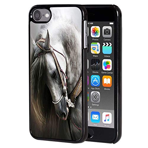 ipod Touch 6 case, Slim Back Cover Hard Plastic Protector Case Stylish Design for Apple iPod Touch 6th Generation - White Horse Design-protector Hard Case