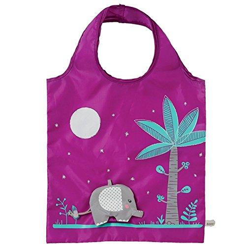 Bolsa ecológica de la compra–diseño de elefante, color morado
