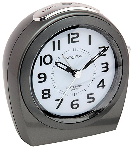 Adora Analogwecker Quarzwecker Alarm Snooze-Funktion Beleuchtung mit Auto-Light-Technologie 29514, Farbe:grau