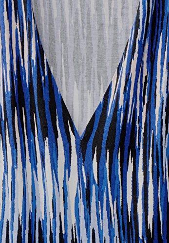 Street One Damen V-Neck Jersey Streifen Kleid Lapis Blue
