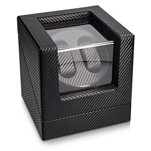 Navaris Uhrenbeweger in Carbon Optik - für 2 Automatikuhren - 20x18x18cm - 4 Modi Uhren Beweger Uhrenbox mit Netzteil - Uhrendreher Schwarz