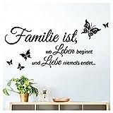 Grandora W5457 Wandtattoo Zitat Familie ist. I schwarz (BxH) 80 x 40 cm I Flur Diele Wohnzimmer selbstklebend Aufkleber Wandaufkleber Wandsticker