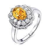 Beydodo Sterling Silber Ringe Damen Strass Oval Gelb Citrine Trauring Freundschaft Ring Silber Größe 56 (17.8)