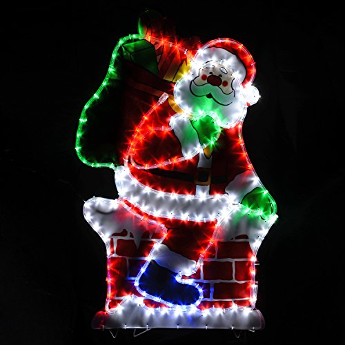 werchristmas 100 cm large chimney santa led rope lights silhouette outdoor garden wall christmas decoration
