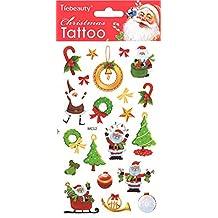 spestyle Frohe chri stimas Tattoo–pegatinas de Navidad incluyendo Papá Noel, regalo, Árbol de Navidad, corona, campana, dulces, etc.