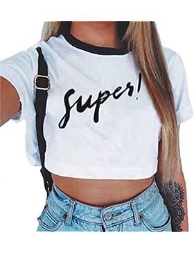 Baijiaye Donna Sottile Maniche Corte Maglietta Girocollo Motivo Stampato Crop Tops T-Shirt Cute Casual Cool Primavera...