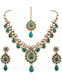 Rich Lady Party Wear Design Rama Stone And Kundan Gold Finishing Necklace Set With Maang Tikaa
