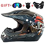 YWLG Motorrad Motocross Helm ABS Offroad Motorrad Fahrrad Sicherheit Helm Unisex Racing Mit Brille Maske Handschuh,D-M54-55cm