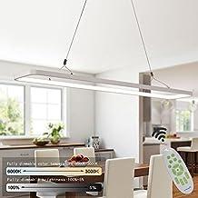 ZMH LED Pendelleuchte Hängelampe Hängeleuchte Dimmbar Büroleuchte  Deckenleuchte Höhenverstellbar Aus PVC Pendellampe Für Wohnzimmer, Esszimmer