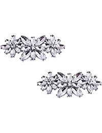 ElegantPark AL Rhinestone Crystal Shoes Bag Dress Embellishments Shoe Clips 2 Pcs