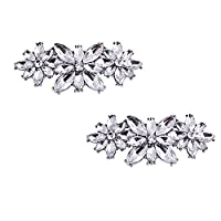 ElegantPark BL Women 2 Pcs Shoe Clips Charm Flower Design Rhinestones Wedding Evening Party Decoration Silver