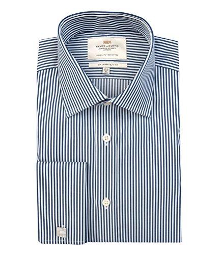 Hawes & Curtis Herren Business Hemd – Slim Fit – Manschetten – Zündholzstreifen Marine, Blau - Bleu - Blue (Navy/White), 40/41cm Kragen, 86cm Ärmel (UK 16-34) (White Collar Manschette-hemd)