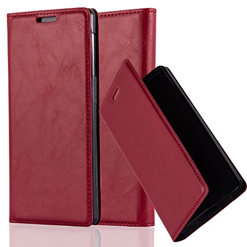 Cadorabo Hülle für Sony Xperia Z1 - Hülle in Apfel ROT – Handyhülle mit Magnetverschluss, Standfunktion und Kartenfach - Case Cover Schutzhülle Etui Tasche Book Klapp Style